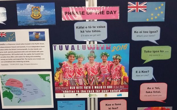 Tuvaluan language boards like this are on display in various libraries around NZ