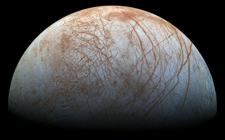 A color view of the surface of Jupiter's icy moon Europa, made from images taken by NASA's Galileo spacecraft in the late 1990s.