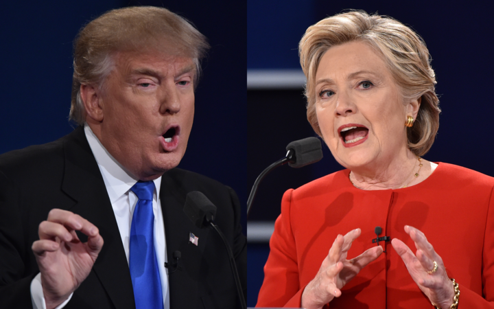 Republican nominee Donald Trump, left, and Democratic nominee Hillary ...