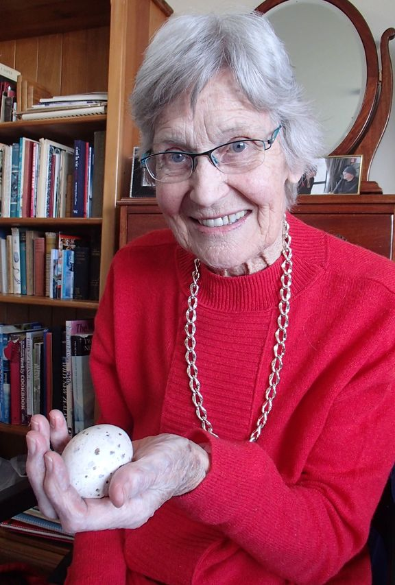 Joan Watson with a takahe egg.