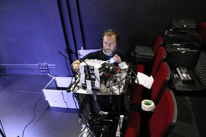 "Engineer Marc Chesterman sets up his sound gear to record ""Vanilla Miraka"" at BATS Theatre"
