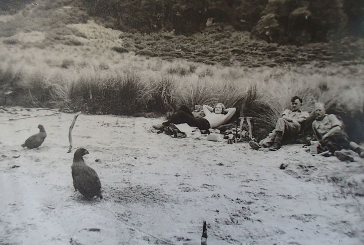 Joan Watson (nee Telfer), Rex Watson and Neil McCrostie in Takahe Valley in 1948.