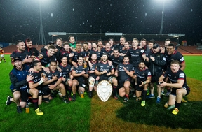 Canterbury with the Ranfurly Shield after their 29-23 win over Waikato