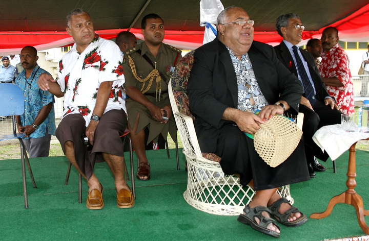 Ratu Joni Madraiwiwi was the Vice-President of Fiji from 2004 to 2006. Here he watches a rugby game between the army and the police with Frank Bainimarama (left) in 2006.