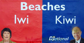 Don Brash's infamous Iwi vs Kiwi billboard.