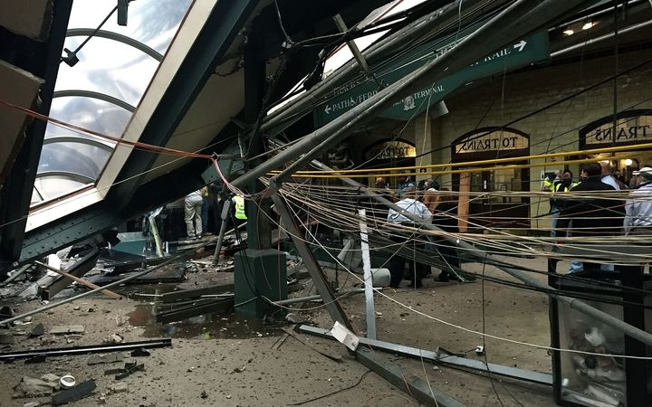 Part of the roof at the Hoboken terminal collapsed after the crash.