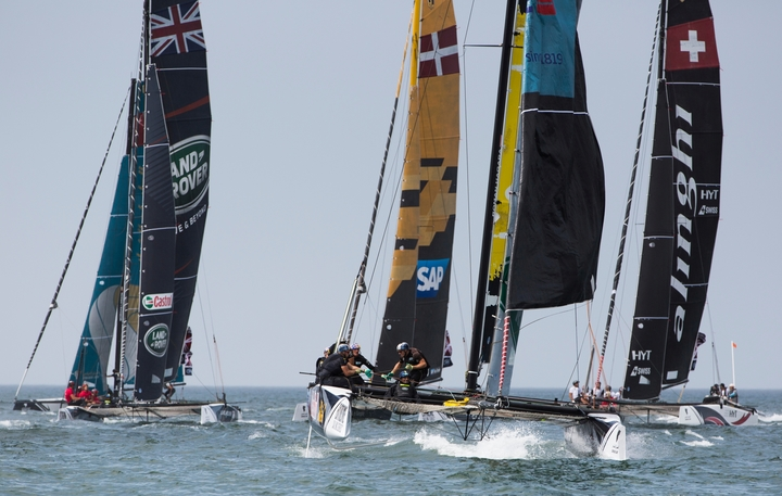 Catamarans racing in the Extreme Sailing Series 2016.