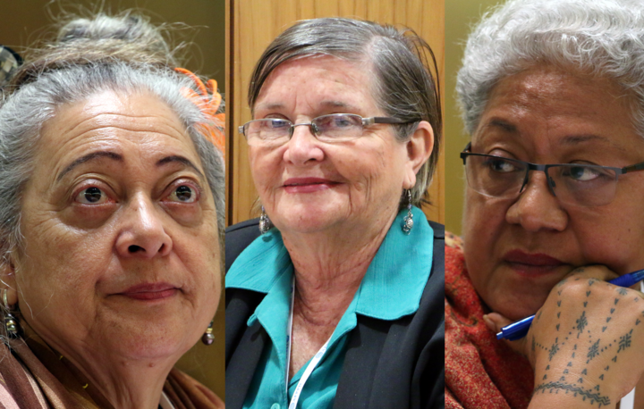 From left to right: the speaker of the Cook Islands Parliament Niki Rattle; Retired Papua New Guinea Politician Dame Carol Kidu; The Deputy Prime Minister of Samoa Fiame Naomi Mata'afa.