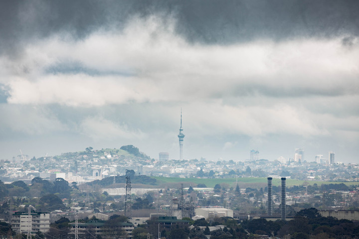 Storm cloud collect over Auckland.