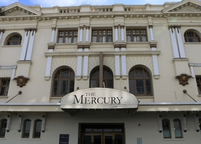 An image of the facade of the Mercury Theatre building.