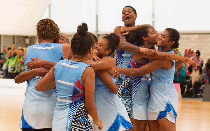Fiji celebrate winning the Oceania World Youth Cup netball qualifying tournament.