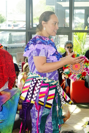 Marama T-Pole leads the celebration of Tuvalu language week at Ranui Library.