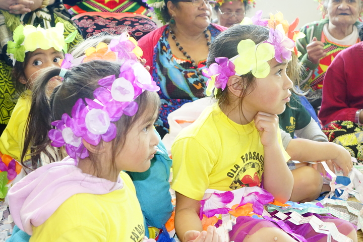 Children celebrate Tuvalu language week at Ranui library in Auckland New Zealand.