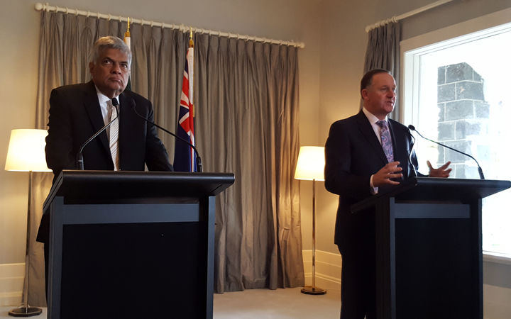 Sri Lankan Prime Minister Ranil Wickremesinghe and Prime Minister John Key at a press conference in Auckland this morning.