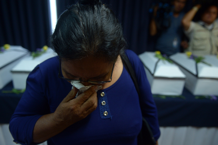 Relatives of 11 victims of the 1981 El Mozote massacre were given the exhumed remains of their loved ones at the Supreme Court of Justice in San Salvador in May this year.