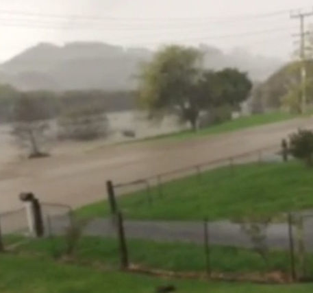 Flooding on Riverview Road in Huntly.