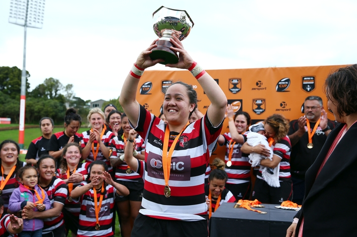 Counties Manukau captain Arihiana Marino holds the Farah Palmer Cup after win over Auckland