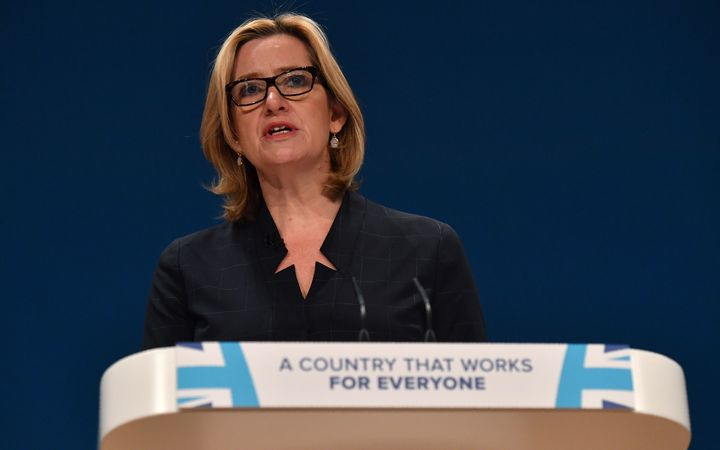 British Home Secretary Amber Rudd speaks at annual Conservative Party conference October 2016.