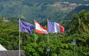 The flags of the EU, French Polynesia and France