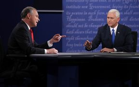 Democrat Tim Kaine (left) argues with republican Mike Pence at the only 2016 vice-presidential debate.