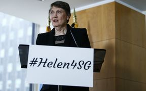 Helen Clark at the launch for her bid to become UN secretary general.