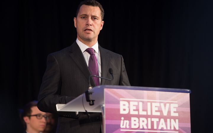 United Kingdom Independence Party (UKIP) MP Steven Woolfe addressing supporters in March 2015.