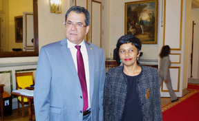 French Polynesia's president Edouard Fritch meets French overseas minister Ericka Bareigts in Paris