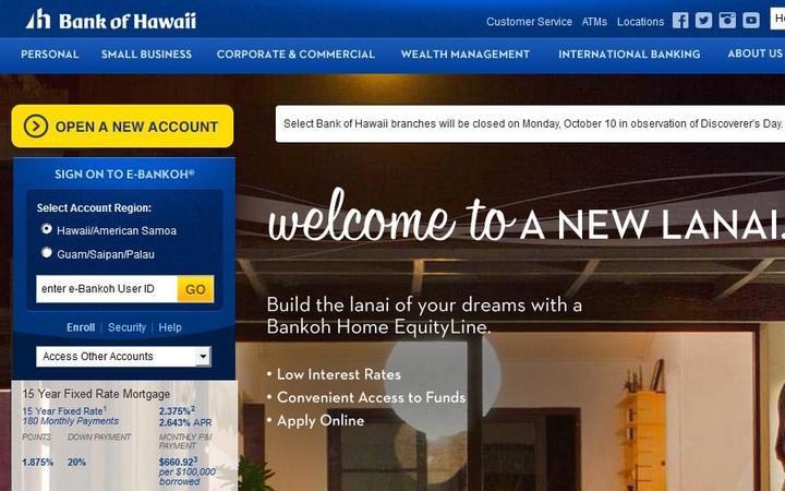 Design Bank Palau.Bank Of Hawaii Yet To Give American Samoa Closure Date Rnz News
