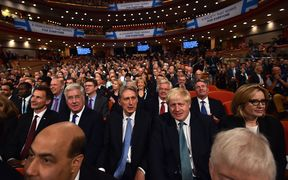 British Health Secretary Jeremy Hunt, British Defence Secretary Michael Fallon, British Chancellor of the Exchequer Philip Hammond, British Foreign Secretary Boris Johnson, and British Home Secretary Amber Rudd sit in the audience on the final day of the annual Conservative Party conference