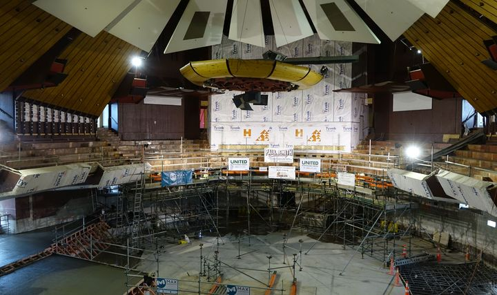 The $127 million repair job to Christchurch's earthquake-damaged Town Hall has nearly hit the half way mark.