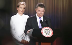President of Colombia Juan Manuel Santos delivers a speech next to his wife Maria Clemencia Rodriguez in Bogota, Colombia, after being awarded with the Nobel Peace Prize.