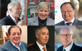 Newly-elected and re-elected mayors, clockwise from top left: Phil Goff, Lianne Dalziel, Meng Foon, Jim Boult, Lawrence Yule and Tim Shadbolt