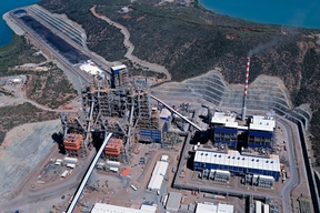 An aerial view taken on September 22, 2015 in Voh, in North Province, New Caledonia shows the Koniambo Nickel SAS (KNS) metallurgical plant belonging to Glencore and Societe miniere du Sud Pacifique.