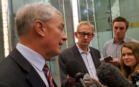 Phil Goff speaks to reporters as he arrives at Auckland  Council headquarters this morning.