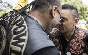 Gang members greet at the hui in Wainuiomata over the weekend.