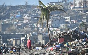 Areas of Jeremie, Haiti, destroyed by Hurricane Matthew are seen on October 8, 2016.