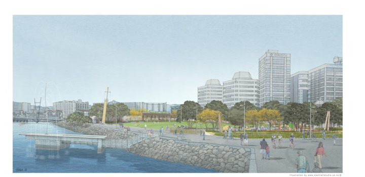 An artist's depiction of the planned park space.