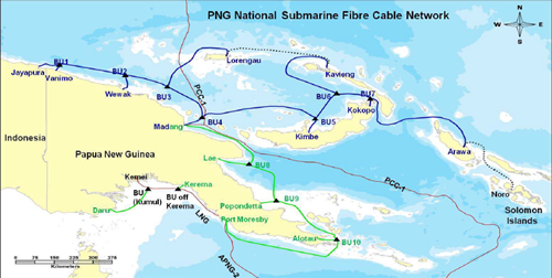 The submarine cable network will provide domestic connectivity across 14 main population center's cities and international connectivity by a link to Jayapura in Indonesia.