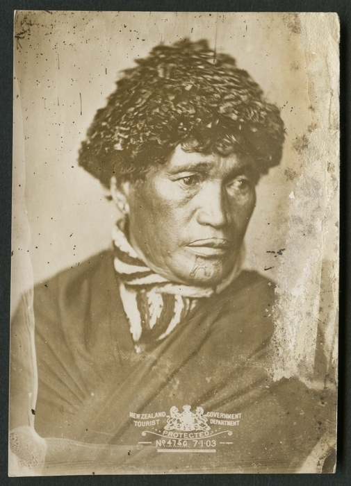 Portrait of unidentified Maori widow with moko kaauae and wearing a potae taua. Ref: PA2-1227. Alexander Turnbull Library, Wellington, New Zealand. http://natlib.govt.nz/records/22904182