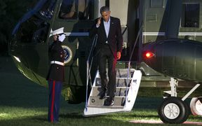 US President Barack Obama returns to the White House after a weekend in Chicago.