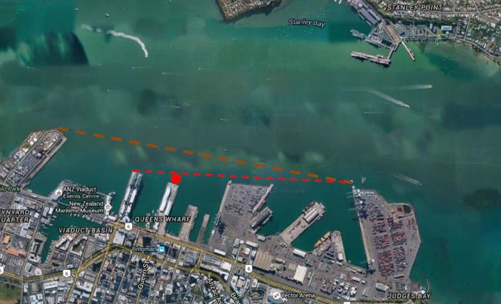 The location of the proposed mooring dolphin within the Auckland CBD waterfront area.