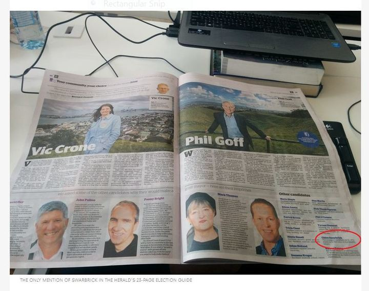 The Spinoff's pic of NZ Herald election spread highlight the scant coverage given to Chloe Swarbrick.