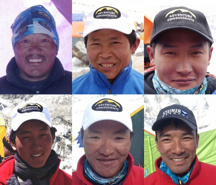 The six Nepali staff killed in the avalanche. Clockwise from top left: Jangbu Sherpa - Taksindu, Solukhumbu; Maila Rai - Khumjung; Dawa Tsering Sherpa - Chaurikharka; Chhimi Dawa Sherpa - Khiruale, Bung; Pema Yishi Sherpa - Khiraule, Bung; Pemba Sherpa - Taksindu, Solukhumbu