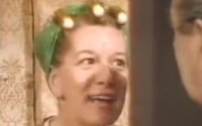 Hilda Ogden confronts husband Stan in an early episode of Coronation Street.