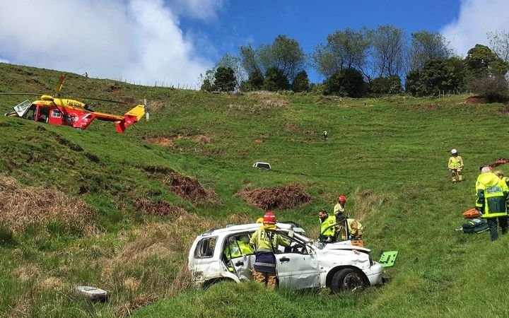 The driver had to shelter in his vehicle overnight after crashing on Kawhia road.