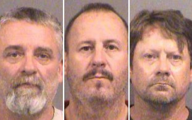 Patrick Stein (left), Gavin Wright (center) and Curtis Allen (right), seen in booking photos, have been charged with plotting to bomb an apartment building filled with Somali immigrants.