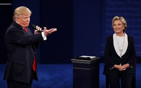 Donald Trump and Hillary Clinton take part in the second presidential debate.