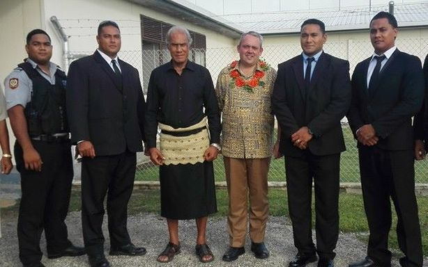 PNG Sports Minister Justin Tkatchenko with Tonga Prime Minister 'Akilisi Pohiva during a visit to Nuku'alofa in February.