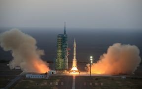 The Long March-2F carrier rocket carrying China's Shenzhou-11 manned spacecraft blasts off from the launch pad at the Jiuquan Satellite Launch Centre.