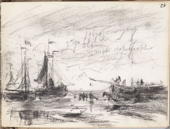 Landscape sketch with figures towing sailing craft by Petrus van der Velden, circa 1874